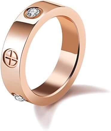 LOHOME Fashion Rings Rose Gold Tone Titanium Steel Cross Rhinestone Ring for Womens