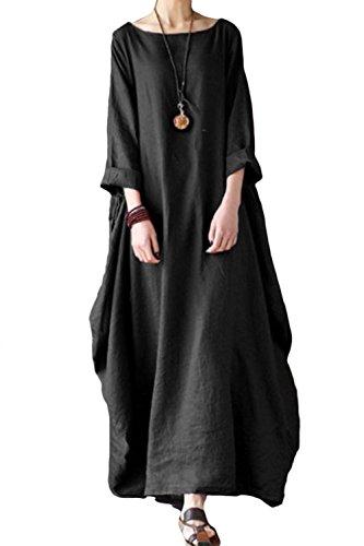 Maxi Donne Di Vintage Sevozimda Casual Vestiti Lino 3 Manica Tunica Black 4 Vestito FzRqwRd