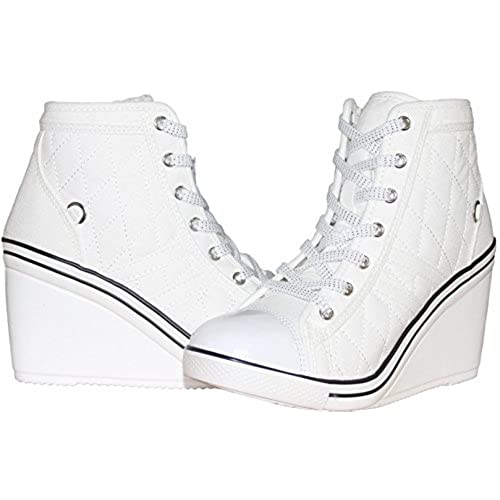 chic Women's Lace up High Heel Wedge High Top Side Zipper
