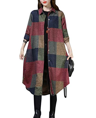 (Zimaes-Women Retro Style Regular Fall Winter Plus-Size Plaid Duffle Coat AS1 L)