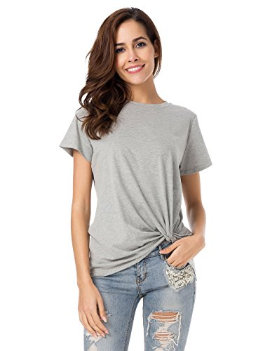 Thin Twist (LUSMAY Womens Short Sleeve Loose Twist Knot Front T Shirts Cotton Casual Blouse)