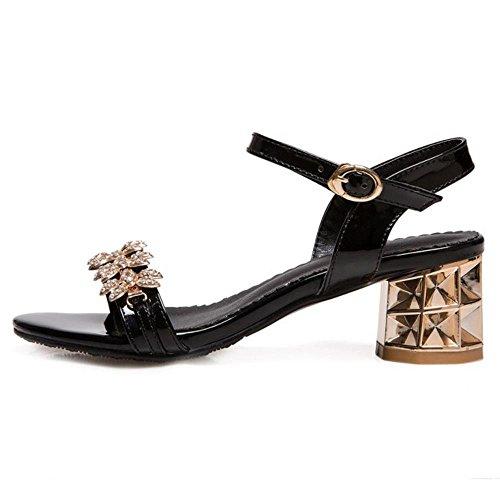 Open Toe Heel TAOFFEN Women Sandals Black Mid xqPwIEwX1
