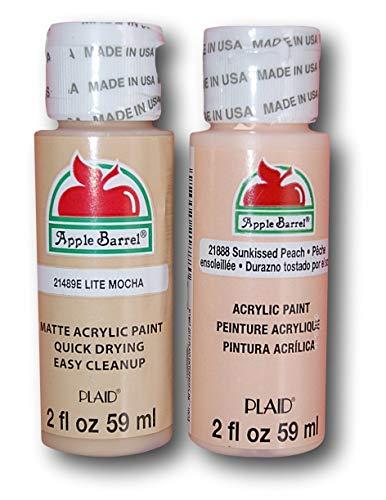 Apple Barrel Acrylic Paint Flesh Tones Set - Lite Mocha & Sunkissed Peach (2 Ounces Each) -  Plaid Enterprises Inc
