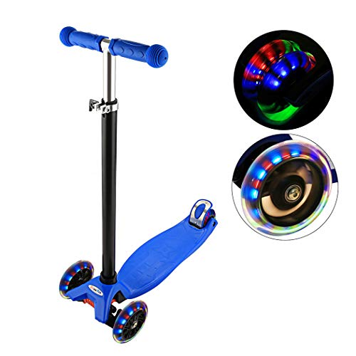 Kick Aluminum Scooter - Adjustable Folding Alloy 3 Big Wheel Kick Scooter for Kids 2-14 Years, Adjustable Height with Handle T-Bar (Style 3: Dark Blue)