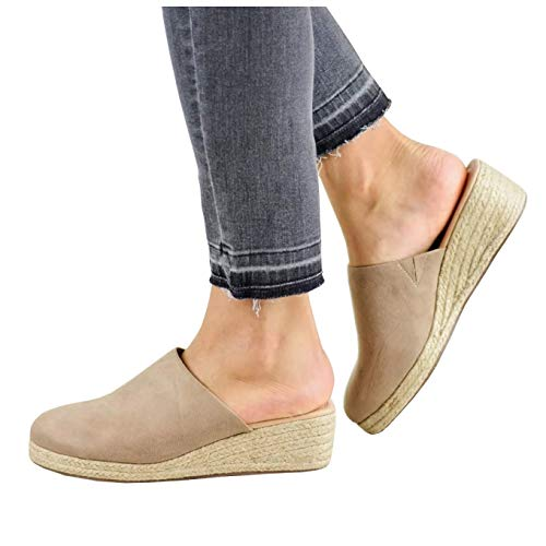 Womens Closed Toe Espadrille Wedges Mules Shoes Sandals Slip On Backless Slides Loafers Khaki
