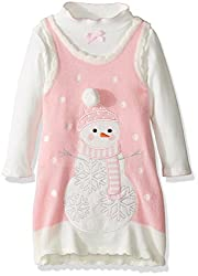 Bonnie Jean Little Girls' Intarsia Sweater Jumper Set with Applique, Grey Snowman, 5