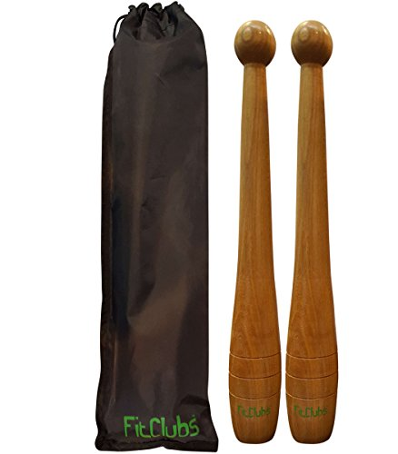 FitClubs Wooden Indian Clubs. 1 lb Indian Clubs (Pair) - Core Strength - Shoulder Strength - Convenient Carrying Bag by SmartThingz