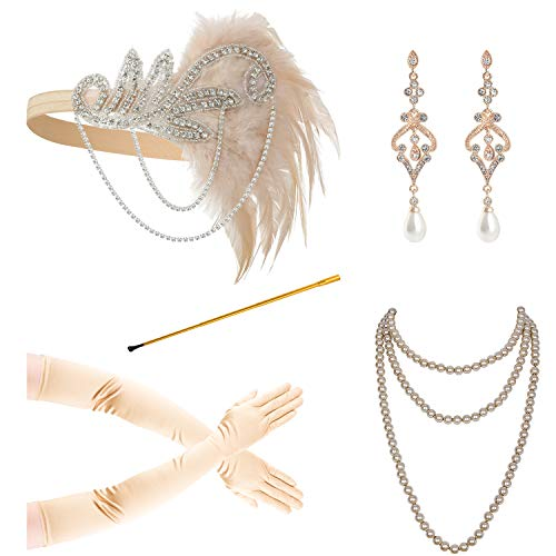 1920s Accessories for Women Headpiece Earrings Cigarette Holder Necklace Gloves Flapper Costume -