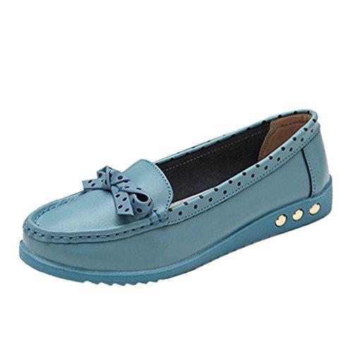 Tenworld Women Strik Platte Schoenen Comfort Schoenen Slip Loafers Blauw