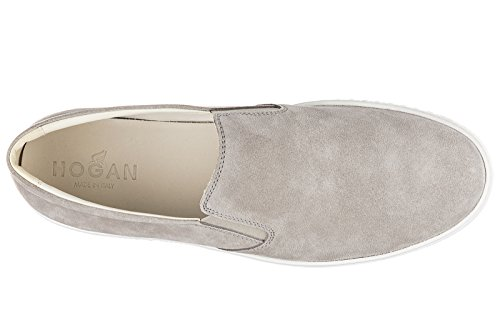 Hogan slip on homme en daim sneakers r141 gris