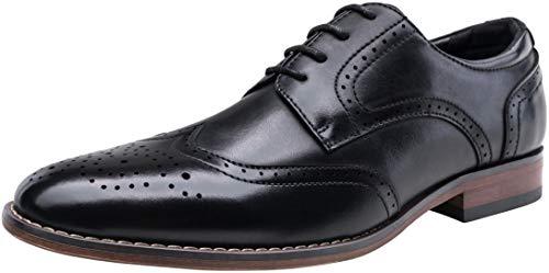 VOSTEY Men's Dress Shoes Classic Wingtip Derby Brogue Men Oxfords (7,Black)