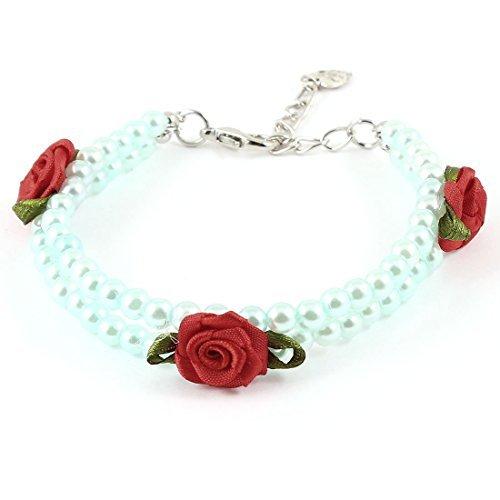 eDealMax Vinculado Collar Collar corchete de la langosta Animal domstico del perro de imitacin de perlas de imitacin, Azul de beb