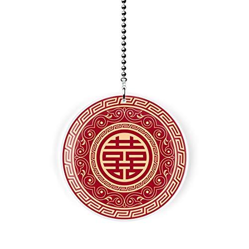 Chinese Happiness Symbol Fan/Light Pull
