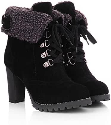Milesline Fashion Women's Booties Winter Warm Fur Lined Lace Up Chunky High Heel Snow Boots