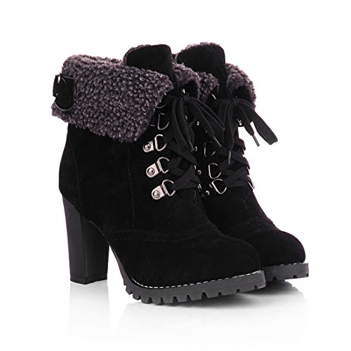 Milesline Fashion Women's Booties Winter Warm Fur Lined Lace Up Chunky High Heel Snow Boots,Black,10 B(M) US