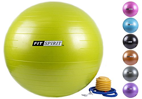 Fit Spirit Green Exercise Balance Fitness Yoga Ball With Pump   75Cm