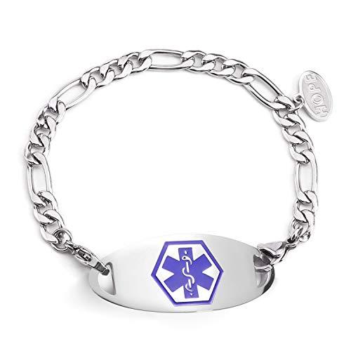 BBX JEWELRY Medical Alert ID Bracelets Stainless Steel Waterproof Figaro Chain Blue Medical ID tag Women