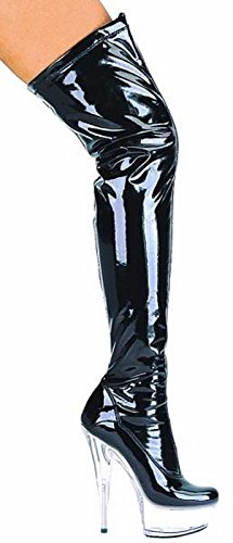 Women's 6 Inch Pointed Stiletto Heel Thigh High Stretch Boots (Black/Clear;9) - Leather Stretch Heels