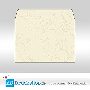 Briefumschlag Liebe Cremefarben Mit Muster Din C6 50 Stück