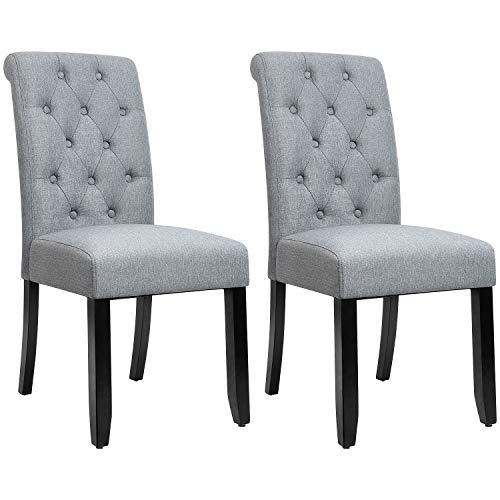JUMMICO Dining Chair Fabric Tufted Upholstered Design Armless Chair with Solid Wood Legs Tall Back Set of 2 (Grey) (Chairs Upholstered Dining Tufted)