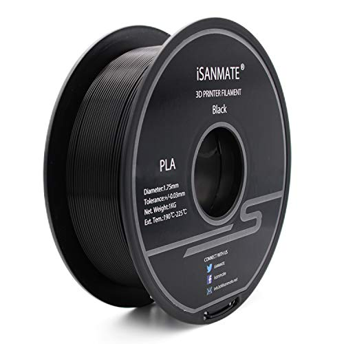 PLA Filament 1.75mm iSANMATE PLA 3D Printing Filament for 3D Printer 1 kg Spool Black(Neat Coil)