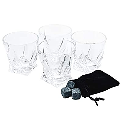 Whiskey Glasses 10 Oz - Set of 4 - Includes 12 Whiskey Stones - Double Old Fashioned Rocks Glass - Scotch, Bourbon, Brandy, Cognac Glasses - Double Snifters - Tumbler - Drinking - Tasting - Nosing