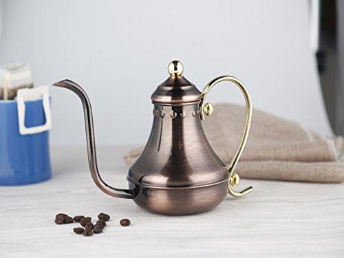 SMKF Pour Over Drip Coffee Kettle, Stainless Steel COPPER GOOSENECK TEA KETTLE TEAPOT (430CC)