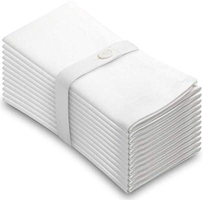 Amazon Com Aunti Em S Kitchen White Cotton Napkins Cloth 20 X 20 Oversized 100 Natural Bulk Linens For Dinner Events Weddings Set Of 12 Home Kitchen