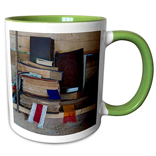 - 3dRose Alexis Photography - Still-Life - Pile of vintage books with textile bookmarkers on a wooden shelf - 11oz Two-Tone Green Mug (mug_304554_7)