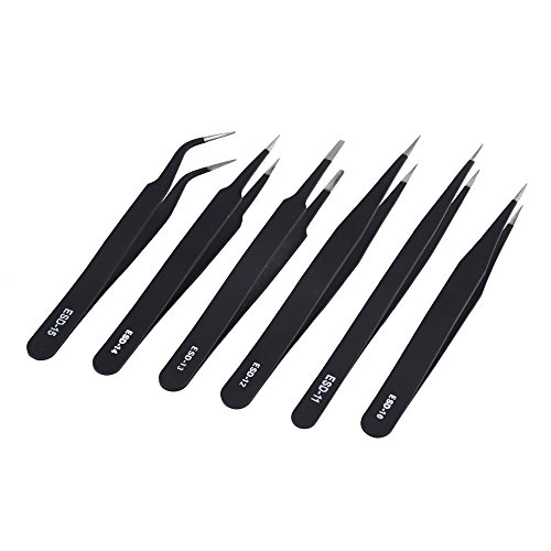 Mudder 6 Pieces Non-Magnetic ESD Tweezers Anti-static for Electronics, Jewelry-making