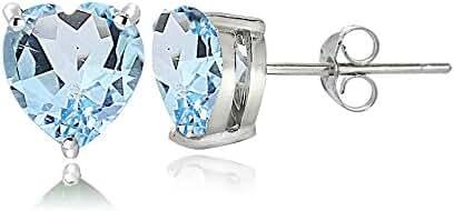 Sterling Silver Genuine, Created or Simulated Birthstone Gemstone 6mm Heart Stud Earrings