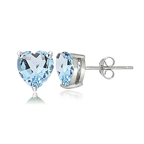 6mm Heart Blue Topaz Earring - Sterling Silver Blue Topaz 6mm Heart Stud Earrings