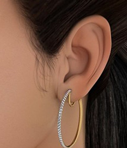 Or jaune 18K 0,64CT TW White-diamond (IJ | SI) Boucles d'oreilles créoles