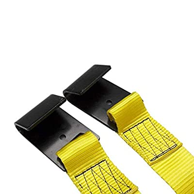 2X Car Basket Straps Adjustable Tow Dolly DEMCO Wheel Net Set Flat Hook Standard Wheels Fits (17-21 Inches, Yellow): Automotive