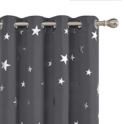 Deconovo Blackout Curtains Silver Star Print Solid Thermal Insulated Blackout Curtains