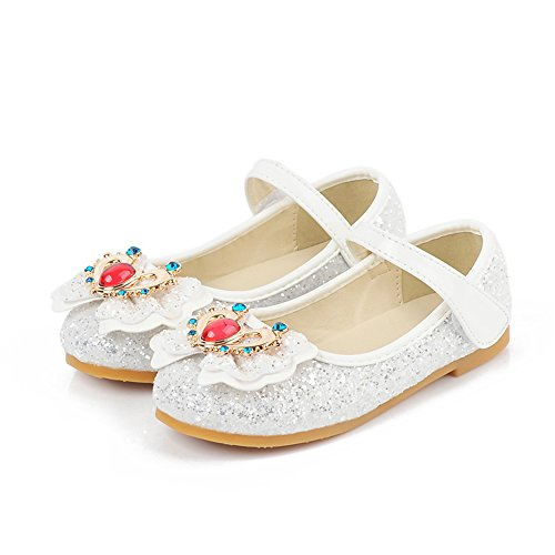 Baby Girls Shoes Cute Bow Diamonds Sparkly Mary Jane Crib Dress Princess Shoes(White34/2.5 M US Little Kid)