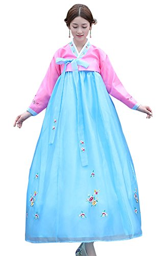 The Korean Traditional Costume (CRB Fashion Womens Ladies Korean Traditional Hanbok Dress Outfit Costume with Embroidery Flower Details (Small, Pink))
