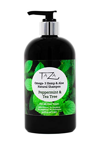 Premium Taza Natural Omega-3 Hemp & Aloe Peppermint & Tea Tree Botanical Shampoo, 16 fl oz ♦ For Healthy, Silky Hair ♦ Contains: Aloe Leaf Juice, Hemp Seed Oil, Pro Vitamin B5, White Willow Bark