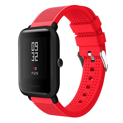 Replacement Strap for Huami Amazfit Bip Youth Watch Band Silicone Soft Wrist Band Bracelet for Xiaomi Huami Smart Watch Accessories Wirstband (Red)