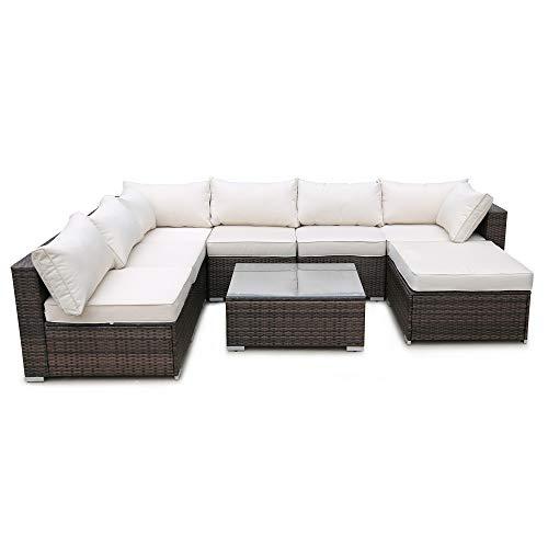 romatlink 8 Pieces Outdoor Rattan Patio Furniture Set, Modern Wicker Conversation Sectional Sofa ...