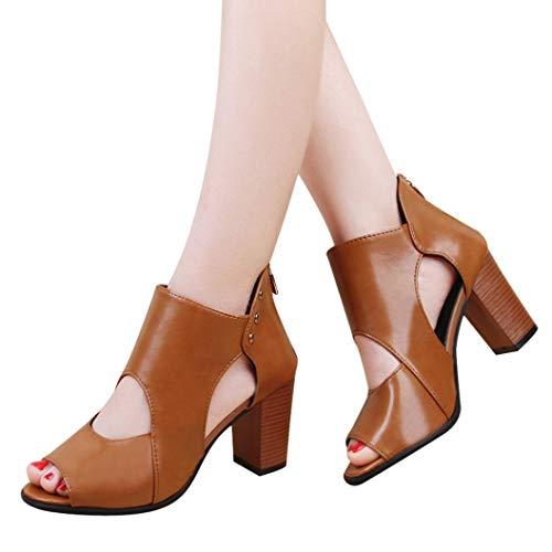 pelle Tacco sandali con Spesso Donna in Stivali Classico Autunno singoli Stivaletti Boot e Marrone Donna cerniera Elecenty Scarpe fYqFnA6