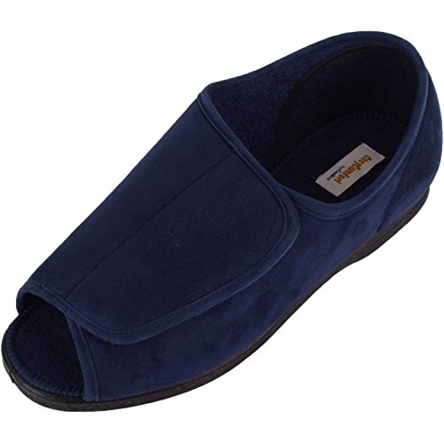 ABSOLUTE FOOTWEAR Mens Microsuede Wide EEE Fitting Slipper/Indoor Shoe With Open Toe Navy RNilq