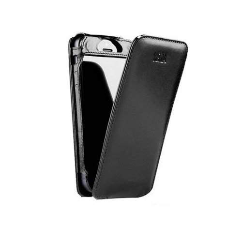 Sena 826101 Magnet Flipper Leather Case for iPhone 5 & 5s - 1 Pack - Retail Packaging - Black