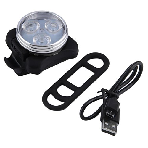 Detectoy Bicycle Bike 3 LED 4 Modes Head Front Rear Tail Light Lamp USB Rechargeable Outdoor Cycling Camping Bike Safety Lamp by Detectoy