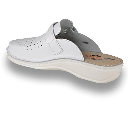 LEON V230 Komfortschuhe Lederschuhe Pantolette Clog Herren, Weiß, EU 42