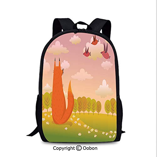 Outdoor Travel Backpack, Animal Fox Wildlife in Valley Farm Sunset with Birds, School Bag :Suitable for Men and Women, School, Travel, Daily use, etc.Orange Lilac ()