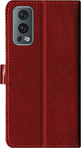 SBMS Leather Flip Cover for OnePlus Nord 2 5G  Brown