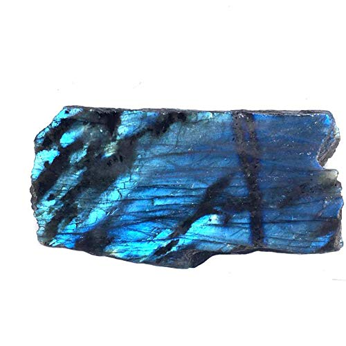 Homankit 1 Piece Natural Rough Labradorite Crystal Healing Stone with Polished Face