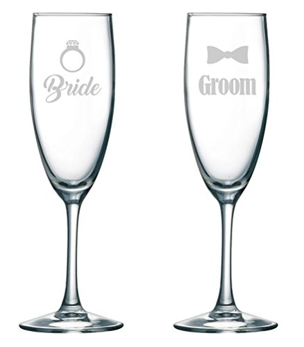 Bride Groom - Wedding Toasting Glasses - Champagne Flutes - Couples Gifts - Newly Engaged - Engagement - Bridal Party (Engagement Gifts Wine compare prices)