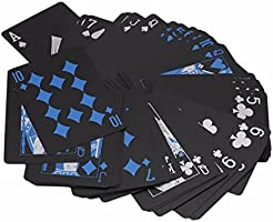 TECHSON Poker Playing Cards Waterproof with PVC Plastic Black and Blue, Dark Cool Color for Magic Tricks Deck Tool Family Party Game
